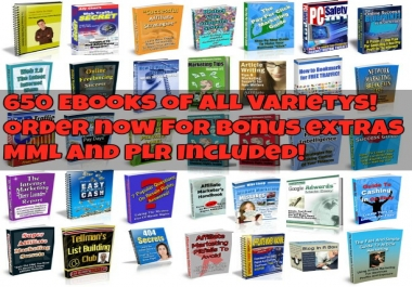 give you 650 eBooks with MMR and PLR on a variety of topics