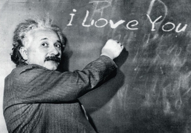 make Einstein write your 4 Message on his Blackboard