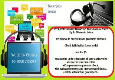 professionally transcribe Your Audio or Video Up to 10mins in 24hrs