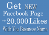 Give you New Facebook page with +20,000 Likes