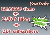 Provide 10,000 yt HQ views + 250 REAL likes + 20 HQ subscribes