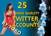 Give you 20 High Quality TWITTER ACCOUNTS