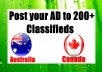 Post your AD to 200 Classifieds from Canada,Australia,NZ