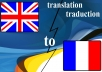 provide flawless translation from English to French up to 300 words