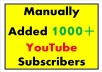 Manually Add 120+ 100% Real YouTube Subscribers