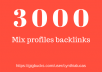 Provide 3000 Mix profiles backlinks From forum & social networks