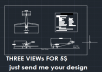 create three views for your design aircraft