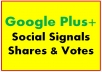 Google One Plus Social Signals Shares & Votes to Webs or Video