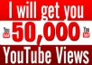 TRUSTED LEVEL 3 SELLER WITH 100% POSITIVE RETING  1 - Permanent 50,000 Youtube Views. 2 - Super fast & Professional service. 3 - 100% Safe To Your Youtube Channel. 4 - No password require. 5 - Split Available.  Service Feature :- ★ You will Get 50,000 HR YouTube Views. ★ I don't need access to your account,just Provide me your VIDEO URL. ★ Don't break any Youtube policies Or TOS. ★ Completely safe methods to Growing views. ★ Non Drop Views,100% Guaranteed,So no Issues In Future. ★ These are Views from all over the world. ★ Split available Max 10 Links per Order. ★ Over-delivering is guaranteed. ★ Orders finished within 48-72 Hours. ★ You can purchase many time per Video,I can handle any amount of orders. ★ 24/7 Customer Service Support.  Note : Dont Make your Video Private or Country Restricted.Please do not upload the copyrighted video. And remove the ads from your video before order. No refund once the order started
