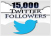 ★★ Start instantly within 10 minutes ★★  ✔ 15,000+ Twitter followers ✔  TRUSTED LEVEL 3 SELLER WITH 100% POSITIVE RATING  1 - Permanent 15,000+ Twitter Followers. 2 - Super fast & Professional Service. 3 - 100% Safe To Your TWITTER Account. 4 - No password require. 5 - Split Available.