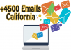 send you a database of more than 4500 email in california