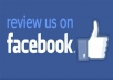 15 users to review you Facebook page  ***** 5 star Facebook reviews *****    Reviews are 5 star with custom text that you provide  All reviews are from random users (not all from one)  Job is done during 15 days   ✔ 100% Safe ✔ Almost Instant Start ✔ Improve visibility    We offer professional websites SEO. We are glad we can offer you now professional social network service.