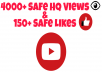 Give Super Fast 4000+ High Quality Youtube views & 150+ YouTube Likes