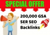 PROVIDE 200,000 GSA SER SEO BACKLINKS