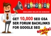 I Will Provide You 10,000 Forum Backlinks for your Blog or website SEO to increase your ranking in search results.   Limited Time Offer !!! Buy One Get One  Get the wonderful chance to improve your Google rankings & Make a Perfect LinkJuice to your links! A new online marketing approach!  - Full report  - Always overdeliver - Twice more than any competitor - ALWAYS FRESH DATABASE  - Get diversity & perfect indexing in your SEO strategy with us!   Features:  - Faster indexing - Raising of positions of keywords with low competitiveness - Increasing of backIinks mass - Increasing traffic to the site- good for tier 2 and tier 3  WHAT I NEED FROM YOU ? 1 URL 10 KEYWORDS  TYPE OF NICHE  If you have questions - feel free to contact me!  Don't wait, Order Now!