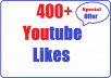 Provide 400+ Youtube Likes Very Fast 8-10 hours complete