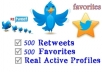 add 500+ High Quality Twitter Retweet And 500 USA HQ Favorites