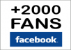 Add +2000 Real fans to facebook