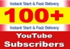 give you 100 YouTube subscribers real non-drop & Life Time Guaranteed!