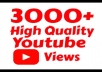 Add you real high quality 3,000+ YouTube Views permanent