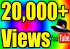 Hey, We will send 20,000 Youtube Views. Our Views Never Delete Or Drop Any Videos ( Money back guarantee )  High Quality Views Come Facebook , Twitter Etc.. NEVER get your video banned from YouTube 100 % Safe Views Long Watch Time NO Bot No Proxy 100% real and permanent Active Youtube Views  Non-Drop Views