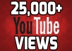 Add you real high quality 25,000+ YouTube Views permanent