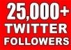 ✯✯Faster and best twitter followers service on gigbucks✯✯ You will get 25000 followers to your twitter account to gain the reputation and trust you were looking for If you need to ask anything feel free to contact me and check my extras and other gigs for more!