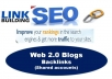This backlinks boost your site and increase high page rank in search engines.  DA 70+ links typically equal the PR9 Top world wide sites, such as: amazon, wordpress.... All links of this service comes from TOP DA (Domain Authority) sites DA 70 to DA 100 You will see good result of your site within one month.   Standard package 20 PR9 - DA (Domain Authority) 70+ (2 GIGS) Premium package 35 PR9 - DA (Domain Authority) 70+ (3 GIGS)  Free Faster Indexing service apply this backlinks.