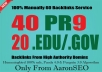manually do 40 PR9 + 20 EDU/GOV Safe SEO High Pr Backlinks 2017 Best Results