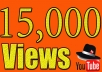 In this gig I'll provide you 15,000 Real YouTube views for 10$. A Service To Improve The Popularity Of Your YouTube Videos and Increase Your Site/Blog Visitors....Videos with more Views often show up in Google search results. Also this helps you get found more often on YouTube Top Search Results.  Order now and get huge views on your video!!!