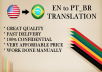 Translate up to 2000 Words From English To Brazilian Portuguese