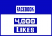 Add 4,000 Facebook Likes ------------------------ ✔(Gig Features)✔ ------------------------ 100% Satisfaction Guaranteed No admin access needed Safe & Permanent High quality Non drop RELIABLE SELLER All are Real and human Users 100% real and permanent No User of Bots or Software If Drop any one likes I will re-fund instantly More Than 100% I always add some Bonus
