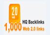 Get 1,000 web 2.0 high-quality backlinks for your link(s)/keywords