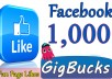 Add 1,000 Facebook Likes ------------------------ ✔(Gig Features)✔ ------------------------ 100% Satisfaction Guaranteed No admin access needed Safe & Permanent High quality Non drop RELIABLE SELLER All are Real and human Users 100% real and permanent No User of Bots or Software If Drop any one likes I will re-fund instantly More Than 100% I always add some Bonus