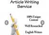 Write an original 500 Word article for you in one day