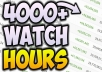 we will provide you 1000 watch hours very fast but for this you need to upload a video of more than  1.2 hour so that you will get the full watch hours  100% GENUINE SERVICE  HELP TO BOOST YOUR VIDEO  FULL RETENTION VIEWS   HELP TO ENABLE MONETIZATION  So what are you waiting for just order now