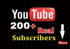Add 200 Non-Drop & Genuine YouTube subscribers to your channel