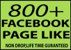 give you 800+ FACEBOOK FAN PAGE LIKE NON DROP HIGH QUALITY for $5
