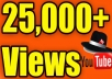 EXPECTED DELIVERY 3 DAYS Hey, We will send 25,000 Youtube Views. Our Views Never Delete Or Drop Any Videos ( Money back guarantee )  High Quality Views Come Facebook , Twitter Etc.. NEVER get your video banned from YouTube 100 % Safe Views Long Watch Time NO Bot No Proxy 100% real and permanent Active Youtube Views  Non-Drop Views