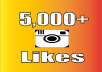 I will do 5,000 Instagram Photos Likes, 100% non drop.  Service Features : 1.) 100% safe method to get more Instagram photo likes 2.) 100% satisfaction guaranteed. If you are not satisfied with the service, you can get back. 3.) Fast delivery.will be delivered on time within 24 hours 4.) Don't need your password. You only need to provide your photo links 5.) Can provide unlimited Instagram likes. So you can order this service package many times