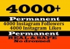 provide 4000 instagram followers, real and permanent