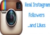 I will give you 1,000+ Instagram followers and 5,000 Instagram likes. Instagram followers and likes will be making your account popular.