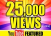 Youtube view's * Get 25,000++ REAL HUMAN You Tube Views in 4-5 days * All v-iews are REAL Human view with high audience retention rate (no bots or proxies) no chance of your video/channel being banned. * Our service is 100% AdSense safe * Our traffic are with high audience retention * You Don't need to be worry about no. of orders in queue as I can handle hundreds of orders * All orders are started within 24 HOURS *