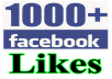 I will provide you 1000+ Real Facebook likes. The account is real and is gained through promotion techniques. Need only the Facebook URL.   Quality of my service:  100% Real FACEBOOK likes FACEBOOK likes do not drop from your subject because they are real and human. Stay a long time in your FACEBOOK All FACEBOOK Likes are Manual Instant start 100% guaranteed work Worldwide Likes are 100% Real & it's come from Active FACEBOOK Users & different IP in the world. Works procedure 100% Right way. Quickly deliver before deadline