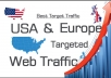 will provide UNLIMITED,real,adsense safe,USA website traffic KEYWORD ,ORGANIC,SOCIAL  I will provide bit.ly analytic report with screen shot+live traffic tracking URL.you can track by yourself.  CHOOSE YOURS:which traffic source do you want from below?Direct google,yahoo,pinterest,bing,twitter,facebook,youtube......and more.(check sample image 2)  85% visitors from USA 500-600 guaranteed daily visitors for minimum  100% ADSENSE SAFE. No china trafíc. Available support 24/7 VERY LOW BOUNCE RATE Boost Alexa ranks. 100% Satisfaction Guaranteed. 24  Hours nonstop traffic to your site you can choose only 1 reference/source(facebook,google or twitter,.....) 1 website is allowed per order Key features: Real visitors with unique ip will be driven to your website. No bots. No china trfic you will receive constant visits for a whole month  The trafic is Direct and 100% Adsense SAFE CPA, affiliations, landing pages, blogs, etc are welcome. except YouTube Entirely traceable on Analytics