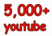 In this gig I'll provide you 5,000 Real YouTube views for 5$. A Service To Improve The Popularity Of Your YouTube Videos and Increase Your Site/Blog Visitors....Videos with more Views often show up in Google search results. Also this helps you get found more often on YouTube Top Search Results.  Order now and get huge views on your video!!!