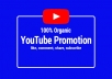 Hey, Are you want to promote your YouTube Video/music in real people? Then you find the right gig.  Yes. I able to promote your Video/music with real people. I will share your link on my community to viral your Video/music. I will grow your fan base and generate real play for your Video/music.  Benefits of this gig:  Natural engagement Massively helps in Video ranking 100% compliance with youtube's TOS Helps You Gain Instant Credibility for Your Video Traffic is from Real People Only – No Bots! 100% Guaranteed Delivery Results START Appearing in 24-72 Hours  Why you hire me?  Maintain your promotion during package duration. 24-hour support. Quality work.  So, Order me,