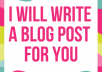 write a blog post for you
