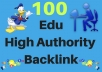 Get you 100 .EDU High Authority Backlink  I will build your website/blog 100 .EDU High Authority Backlink  > .Edu will increase your domain authority > EDU backlinks are considered more trustworthy. > We accept only one website URL and 3 keyword per order > Detailed Submission Reports > Orders complete within 1-3 days.  Please check extra if you need more  All SEO and social media services Available  if you need anything more please message me or check my profile