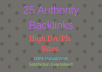 Create 25 High Quality/Authority backlinks